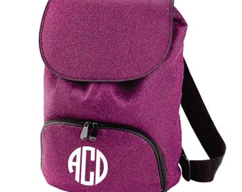 Monogram Pink Glitter Backpack with Black Trim, Cheer Backpack