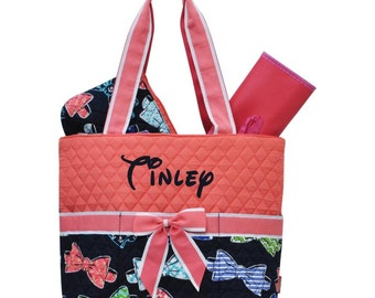 a0b8a8a1a169 Monogram Diaper Bag Quilted Coral Bow Diaper Bag