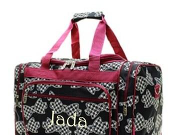 c5a4bd6b0e73 Monogram Houndstooth Bowtie Duffle Bag Black Bowtie Duffle Bag with Burgundy  Trim