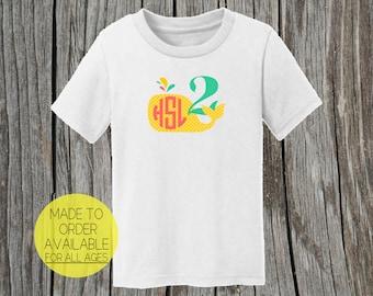 Children's Monogram Birthday Shirt Cute Whale