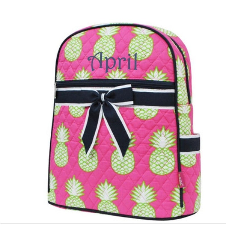 Monogram Backpack Quilted Pink Pineapple
