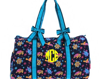 Monogram Quilted Sea Turtle Reef Duffle Bag - Turquoise