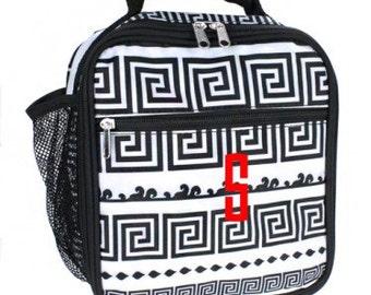 Monogram Lunchbox Key Black and White - Insulated - Multiple Pockets - Maze