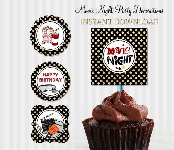 Movie Cupcake Toppers Movie Birthday Movie Birthday Decorations Movie Birthday Cupcake Toppers