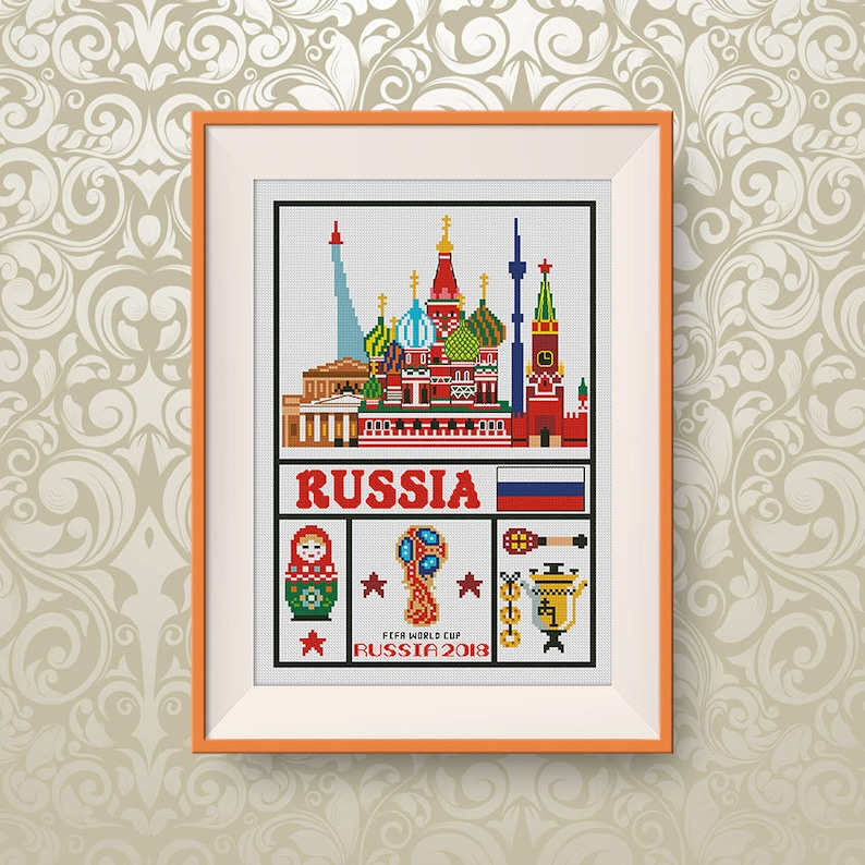 BUY 2, GET 1 FREE! Russia cross stitch pattern, Travel cross stitch  pattern, Little Russia, Moscow cross stitch, Instant Download #P341
