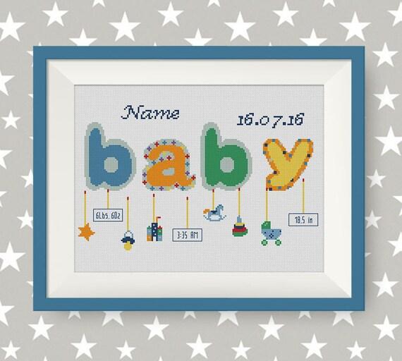 buy 2 get 1 free baby boy announcement cross stitch pattern etsy