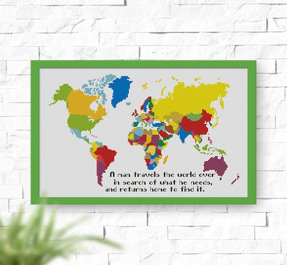 BUY 2 GET 1 FREE World Map cross stitch pattern Instant | Etsy