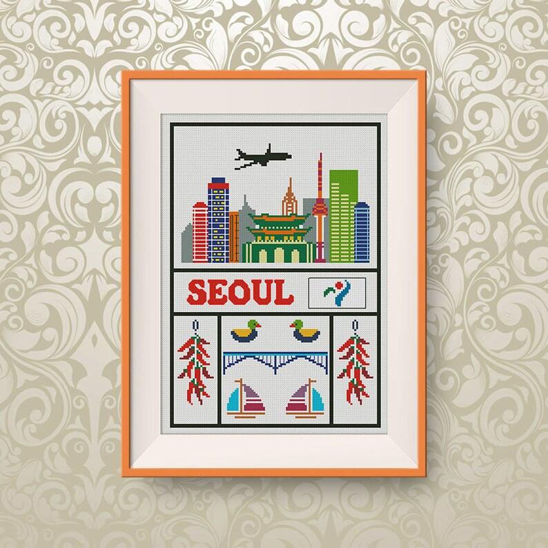 BUY 2, GET 1 FREE! Seoul cross stitch pattern, Instant Download, Travel  cross stitch pattern, pdf, Little Korea cross stitch pattern, #P281