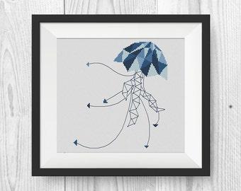 BUY 2, GET 1 FREE!  Geometric Jellyfish Cross Stitch Pattern, pdf counted cross stitch pattern, Modern cross stitch pattern, #P226
