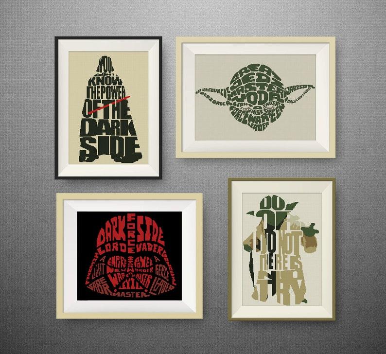 Citaten Uit Star Wars : Set star wars quotes cross stitch patroon yoda kruissteek etsy