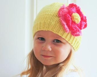 Yellow Toddler Child Merino Wool Pink Petals Flower Hat befbda541a95