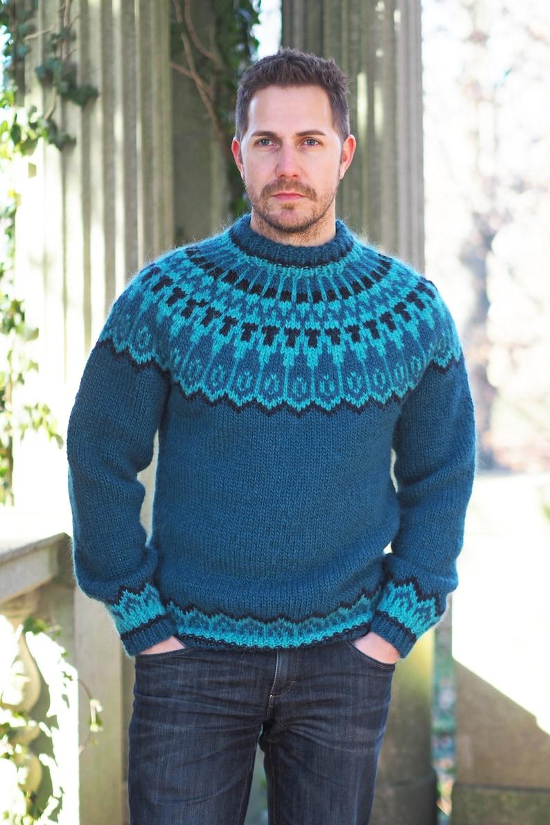 84187c30c6a North Sea Teal Icelandic Lopi Wool Sweater Size Medium