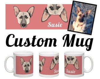 CUSTOM PET MUG | Your pet on a coffee cup! | 11oz | Dog | Cat | Custom Pet Portrait Included | Send your favorite photo!