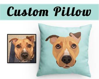 CUSTOM PET PILLOW | Made from your photo | Custom Illustration | ChooseYour Color | PetGift | Throw Pillow