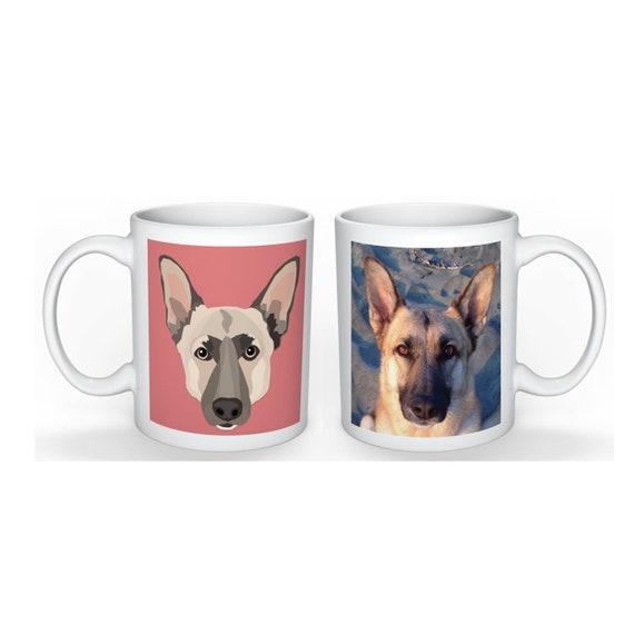 Custom Pet Mug | Square Portrait with Photo | Drawn from Photo