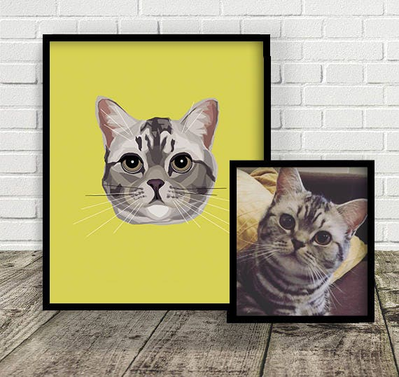 Custom Cat Illustration | Print at Home | Drawn From Photo