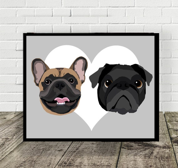 TWO-IN-ONE Custom Pet Portrait | Drawn from Photos
