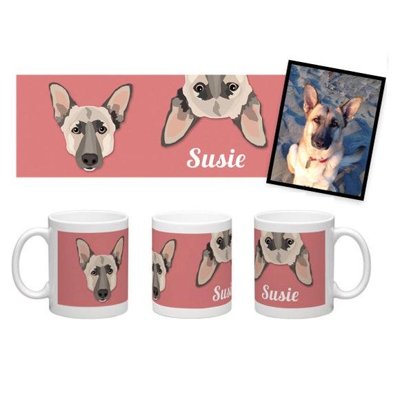 Custom Pet Mug | Wraparound Image | Drawn from Photo
