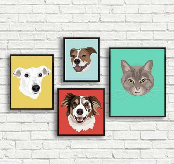 Custom Pet Illustration | Canvas Print | Drawn From Photo