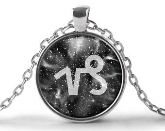 Capricorn Zodiac Pendant Necklace | Capricorn Necklace Zodiac Necklace Galaxy Necklace Black and White Space Night Sky Star Nebula Astrology