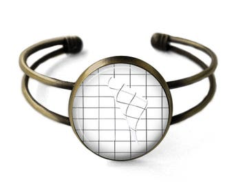 Grid Aesthetic Cuff Bracelet | Aesthetic Bracelet, Grid Bracelet, Bangle, Grunge Jewelry, Geometric Jewelry, Seapunk, Vaporwave, Boho Bangle