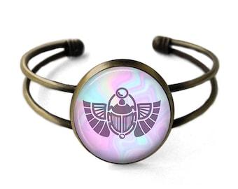 Mystic Scarab Beetle Cuff Bracelet | Egyptian Bangle, Egyptian Jewelry, Ancient Egypt, Scarab Bracelet, Seapunk, Bohemian Jewelry, Pastel