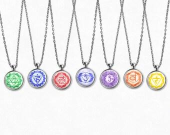 Chakra Necklace Set | Chakra Necklace Chakra Jewelry Boho Jewelry Set Yoga Necklace Meditation Necklace Choker Necklace Long Boho Necklace