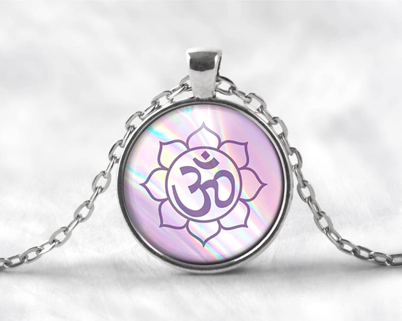 Mystic Om Lotus Flower Pendant Necklace Om Necklace Lotus Etsy