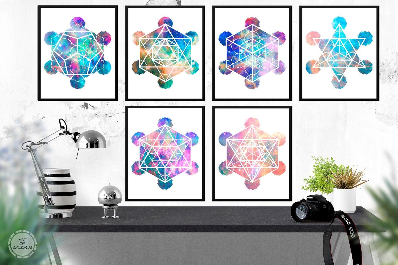 Sólidos platónicos de la cubo de Metatron Set de arte
