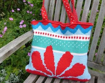 Crochet pattern bag / shopper Red Sunflower (English US pattern)