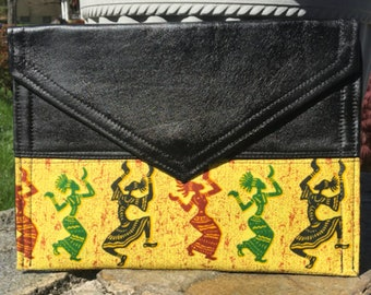 Leather and Dancing Ladies Clutch Bag