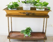 Bronze rings, 50 39 s style footed planter, plant