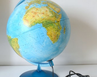 Globe Earth bright blue base, world map, vintage world globe, made US Nova Rico in Italy