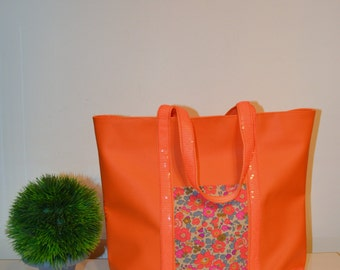 "Bag style ""VB"" faux glitter ribbons and orange leather tote bag"