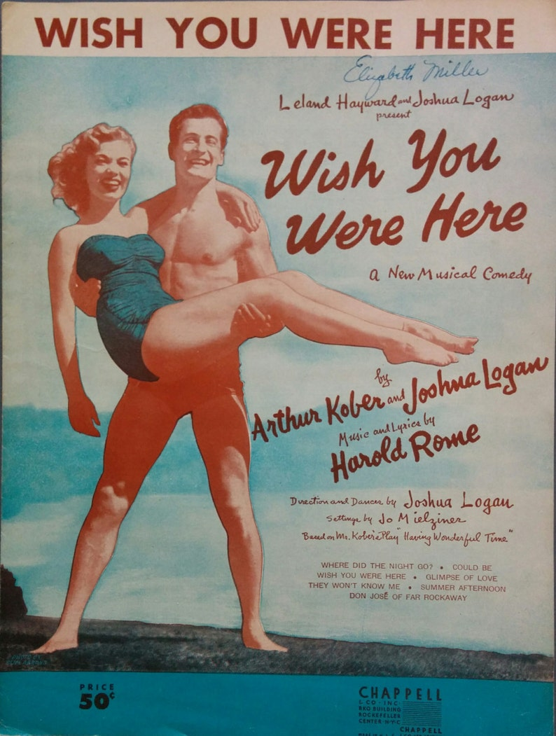 Wish You Were Here 1952 Broadway Vintage Sheet Music Musical image 0