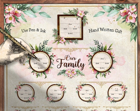 NEW! 4 Generation Pedigree - YOU PRINT instant download -  12x12 inch Poster - for Ancestry Gifts, Family Records, Ahnentafel Chart – FT112