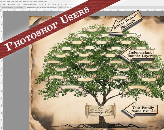 Family Tree Chart, 5 Generation Pedigree, YOU PRINT, 16x20, Genealogy Gift, Ancestry Poster, Family Records, Photoshop layers- FT109