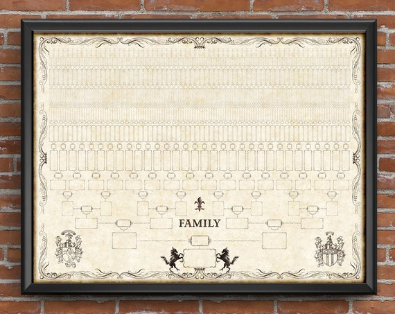 Family Tree Chart, 12 Generation Pedigree, YOU PRINT, 48x36, Genealogy Gift, Ancestry Poster, Family Records, Ahnentafel Chart -  FT102