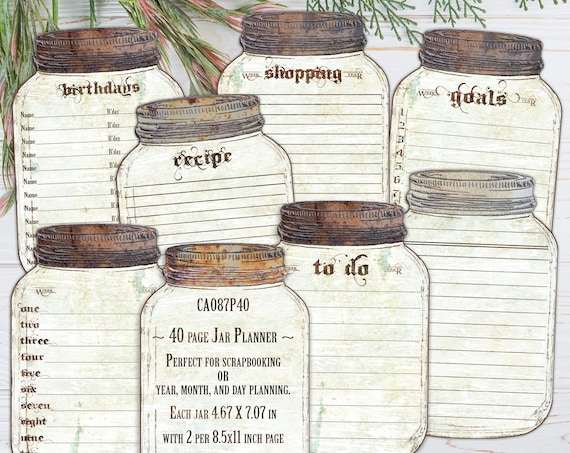 Vintage Calendar Canning Jars for 2021, Unique printable scrapbooking, Fun Planner for organizing, 8.5x11 Instant download, CA087