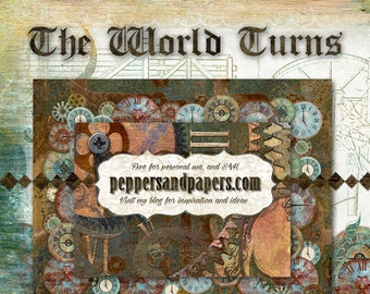 Premade 24x12 Steampunk Printable layout - Instant double page Scrapbook pages  - With You