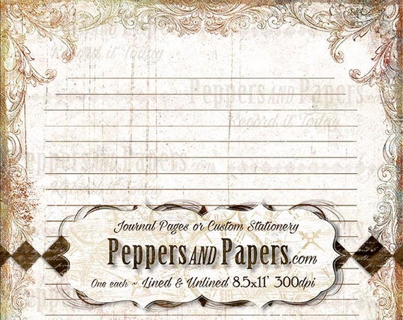 Stationery, 8.5x11 Writing Paper, YOU PRINT, Lined and Unlined, Decorative Note Paper, for scrapbooking, ST09 Vintage Scroll