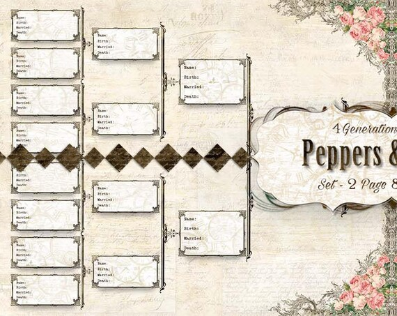Family Pedigree - YOU PRINT - 4 Generation Chart - 8.5x11 - 2 pages; ancestry, printable, records, journaling, Family Organizer - Pedigree