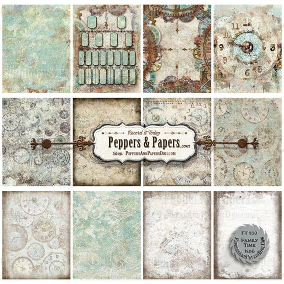 Family Time Clock backgrounds YOU PRINT instant download, 8.5x11 - distressed watercolor, 12 textured digital backgrounds, FT138 Family Time