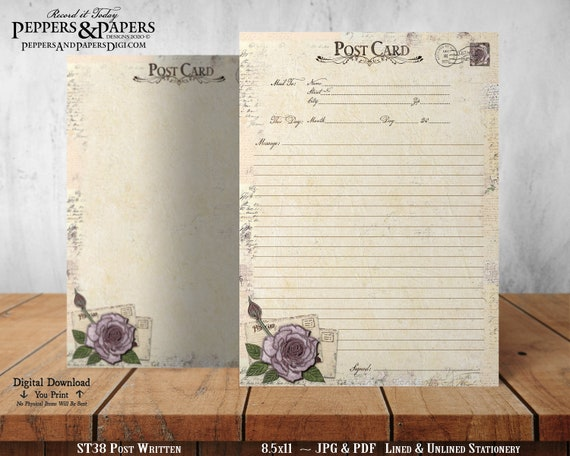 Stationery, 8.5x11 Writing Paper, YOU PRINT, Lined and Unlined, Note Paper,  Vintage, Clocks, Post Written - ST38