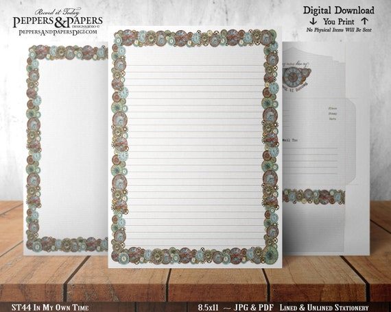 Stationery, 8.5x11 Writing Paper, YOU PRINT, Lined and Unlined, Decorative Note Paper, for scrapbooking, Clocks, In My Own Time ST44