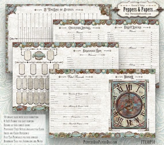 Family Tree Workbook, YOU PRINT instant download, 153 page Ancestry Scrapbook, 8.5x11 Heritage Gift, Family Organizer, FT02 Family Time