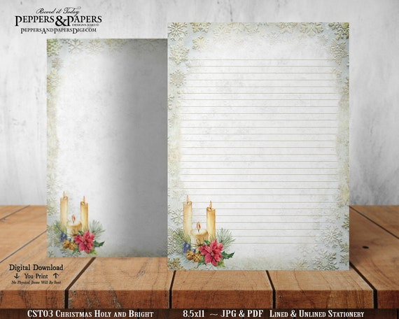 Christmas Printable Stationery for Annual Holiday Letter Writing, Burning Candle in the Window, Christmas Holy and Bright, CST03
