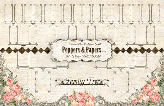 Pedigree Chart - YOU PRINT - 4 Generation, 11x17 - 3 title options; ancestry, printable, records, journaling, Family Organizer - Family Tree