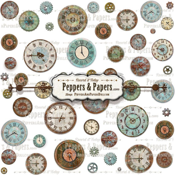 Vintage Clock Overlay on transparent background for digital scrapbooking, collages and crafts or mixed media, CL1