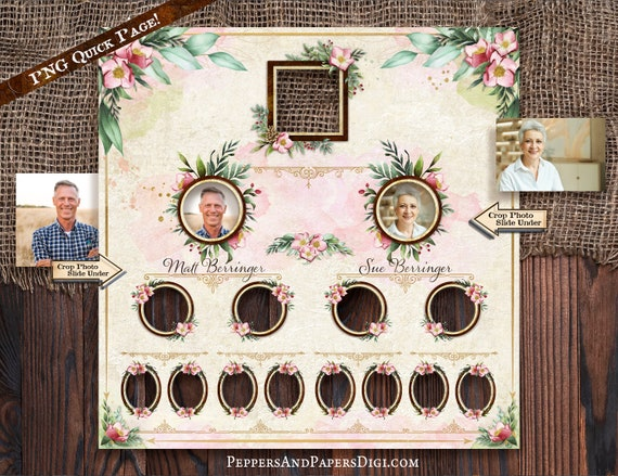 Family Tree 4 Generation Pedigree chart for Ancestry Gifts, Family Records, Editable text to customize family Ahnentafel Chart, FT112